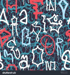 Colorful seamless pattern. Graffiti hand style old school doodles street art illustration. Composition with tags, signs, elements for skate board, clothing streetwear wallpapers textile fabric