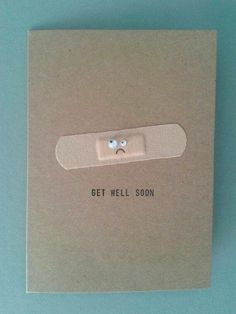 Items similar to Get Well Soon Plaster Card, Personalised. on Etsy Handmade Get Well Soon card Cute Cards, Diy Cards, Simple Handmade Cards, Handmade Ideas, Etsy Handmade, Tarjetas Diy, Ideias Diy, Get Well Soon, Get Well Cards