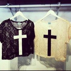 shirt, cross, top, crop top, vintage, lace, floral, skulls - Wheretoget