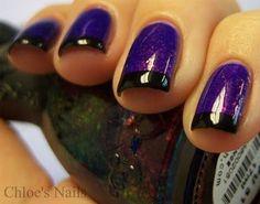 Silver Nails, Glitter Nails, Sparkle Nails, Black And Purple Nails, Black Nails, Purple Hair, Chloe Nails, Purple Manicure, Purple Nail Designs