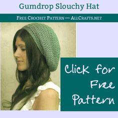 AllCrafts Free Crafts Update – So Many Crafts Crochet Adult Hat, Crochet Slouchy Hat, Free Crochet, Knitted Hats, Knit Crochet, Boho Hat, Crochet Crafts, Crochet Projects, Crochet Patterns