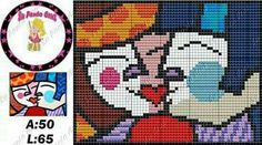 Today I bring the artpop of Romero Britto to adorn our embroidery – knitting charts Intarsia Knitting, Knitting Charts, Perler Bead Art, Tapestry Weaving, Betty Boop, Blackwork, Beaded Embroidery, Beading Patterns, Pixel Art