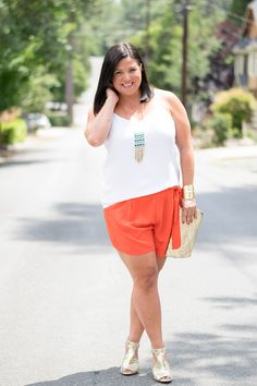 Black and White Striped Skirt | A LA PLAGE style | Carolee Pendant Necklace Jewelry Weekend Girls Night Date Summer Outfit A La Plage Style Blog Women's Fashion Orange Shorts White Cami Gold Clutch Gold Peep Toe Heels Express Old Navy Michael Kors by @alaplagestyle