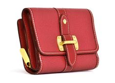 LOUIS VUITTON Red Leather 'Suhali Sompteux' Wallet Rt. $890 | From a collection of rare vintage wallets and small accessories at https://www.1stdibs.com/fashion/handbags-purses-bags/wallets-small-accessories/