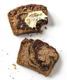 Filled with warm spices and swirled with chocolate, this moist zucchini bread is perfect for holiday baking. Use mini loaf pans, and then wrap 'em up and gift them to friends—they'll be happy to nibble at something a bit lighter than the Yule log.