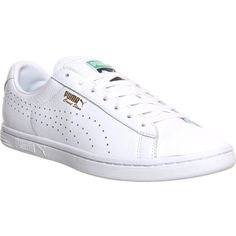 PUMA Court star leather trainers (€41) ❤ liked on Polyvore featuring shoes, sneakers, nm white leather, leather sneakers, leather lace up sneakers, puma trainers, perforated sneakers and white leather sneakers