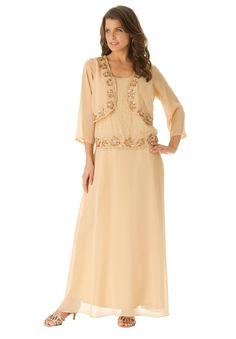 Beaded Mock Jacket Dress | Plus Size Evening Dresses | Roamans