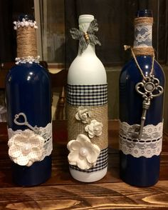 Blue, grey and white with some burlap/twine wine bottles.