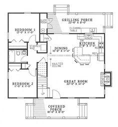 "Main Floor Plan,  Floors:1 1/2  Living Sq Feet:1374  Bedrooms:3  Full Baths:2  Half Baths:0  Garage Bays:0  Width:40' 4""  Depth:41' 6"""