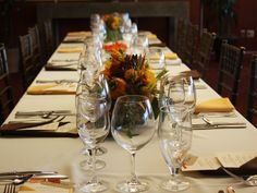 Place setting for Harvest Dinner 2014 #tolosawinery #tolosavineyards Beautiful Fall flower arrangements by #noonansdesigns