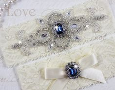 SALE  MADRID II  Sapphire Blue Wedding Garter by HannabellaDesigns, $15.95