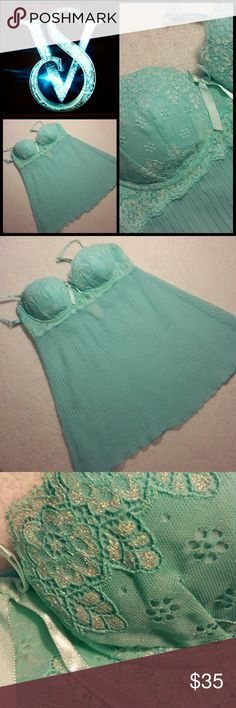 NWOT! Victoria's Secret Iridescent & Bra Nightie Never worn. New without tags. I did try it on once or twice. Perfect condition. No flaws! Absolutely gorgeous. I say it's fit for a mermaid... with all of its lacey, iridescent detailing. Pleated babydoll. It would be very easy to find panties to match. Bra top.  36C Victoria's Secret Intimates & Sleepwear