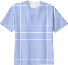 Pastel Baby Blue Windowpane, Checked, Wavy Grid Pattern T-shirt by CHEETODREADS on Print All Over Me. #paomtee #poamgrid