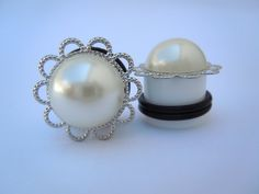 Faux Pearl Hider Plugs / Gauges. 6g / 4mm 4g / by TheGaugeQueen, $19.00