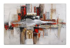 Dipintimoderni quadro moderno rosso e grigio