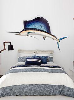 An Australian design exclusively at Simons Maison This duvet cover provides… White Duvet Covers, Duvet Cover Sets, Nautical Stripes, My Room, Pillow Shams, Bedroom Decor, Bedroom Ideas, Decoration, Sweet Home
