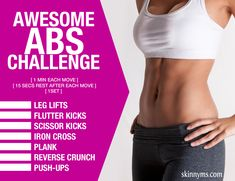 This Awesome Abs Challenge is amazing along with a clean diet! #awesome #abs #challenge
