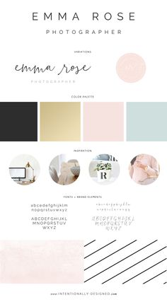 Emma Rose Photographer brand style board — Intentionally Designed
