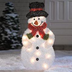 Pinterest • The world's catalog of ideas:Pre-Lit Tinsel Snowman | Outdoor Christmas Decor | Brylanehome,Lighting