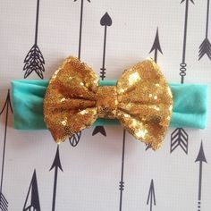 Mint and Gold Sequin Headband Bow Glitter Bow by PurplePossom