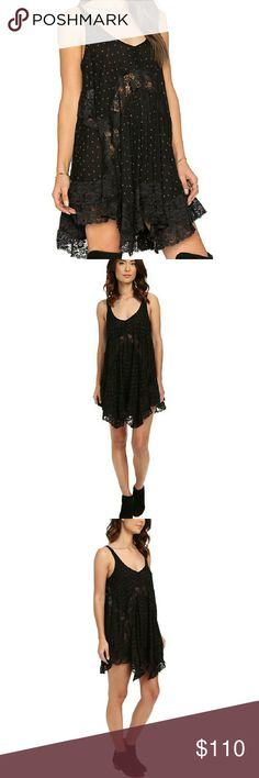 ~coming soon~ NWT Free People She Swings Dress Gorgeous lightweight slip dress with lace trim perfect for summer into fall. Wear on its own or pair with an oversized sweater or cardigan and booties. Free People Dresses