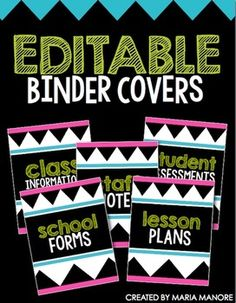 Get organized in style with Editable Binder Covers from Kinder-Craze. In this PDF you will find binder covers and coordinating binder inserts that . Back To School Organization, Classroom Organisation, Teacher Organization, Classroom Ideas, Classroom Management, Classroom Labels, Classroom Design, Binder Covers Free, Binder Cover Templates