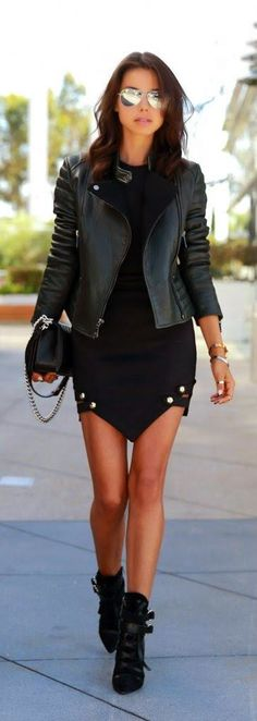Street fashion edgy black leather jacket