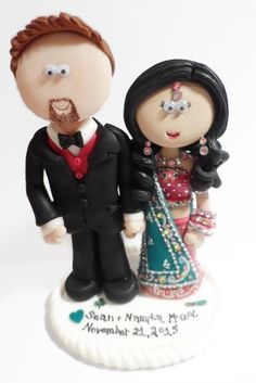 Indian Bride with her Groom. NOT edible, a lifetime keepsake of the big day, I send my work anywhere in the world and make them to look like you in any outfits or poses you want.