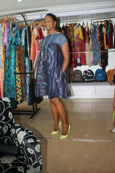 Osc adire Eleko lindy embellished dress . African Wear, African Attire, African Women, African Dress, Latest African Fashion Dresses, Ankara Fashion, Pretty Black Dresses, Short Gowns, Africa Fashion