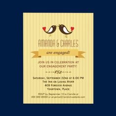 Lovebirds Yellow Engagement Party Invitation