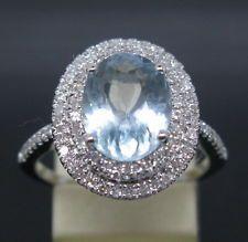 3.63CT SOLID 18K WHITE GOLD NATURAL BLUE AQUAMARINE DIAMOND ENGAGEMENT RING