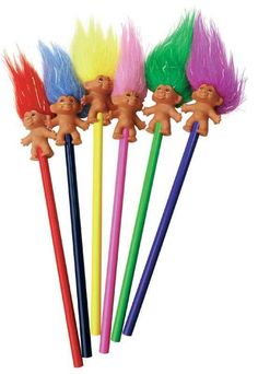 And these troll pencil toppers would look great in the orange vase Trolls Birthday Party, Troll Party, 90s Childhood, My Childhood Memories, Polly Pocket, Retro Toys, Vintage Toys, Los Trolls, Pencil Toppers