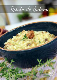 Receita deliciosa de Risoto feito com Noz Pecãn e Salame para fazer no inverno. Receita incrível de Risoto.