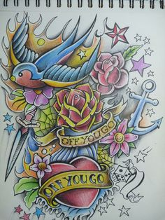 Off You Go Old School Tattoo by ~Alhoide on deviantART