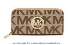 2014 Michael Kors Leather Continental Logo Wallet Apricot Outlet Sale