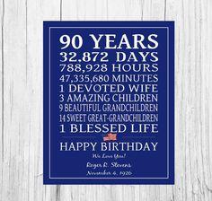 Cartel de cumpleaños 90 años veterano regalo por PrintsbyChristine