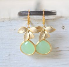 Mint Teardrop Drop Earrings with Gold Orchid. Mint Dangles