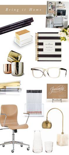 Stylish Desk Necessities // based on our editor @Danielle Lampert Lampert Moss desk // Camille Styles