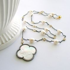 MOP Quatrefoil Necklace Baroque Pearls White Topaz Mixed Metals  - Melanee Necklace