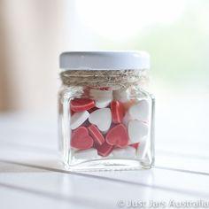 144 mini 50ml square glass jars - White lids - DIY wedding favours / Bomboniere / Bonbonniere
