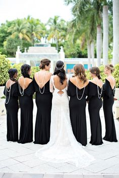 Backward necklaces look so chic on this bridal party! Photo by Kristen Weaver