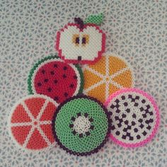 Fruit coasters hama beads by larapporteuse
