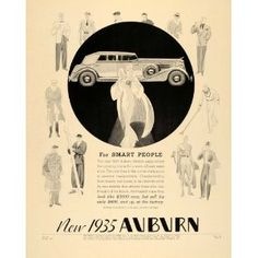 1935 Ad Auburn Automobile Art Deco Indiana Art Deco