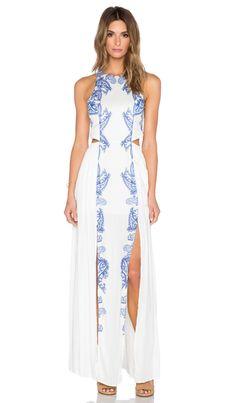 THE JETSET DIARIES Ruffian Maxi Dress in White & Majorelle | REVOLVE