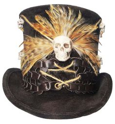 6a8349db488fb Voodoo Witch Doctor Tall Brown Top Hat Skull by JenkittysCloset Doctor  Halloween