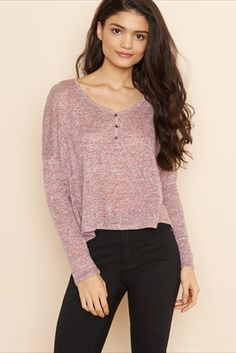 Cropped Swing Henley Top