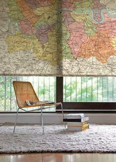 Ooh a map as a blind. Way cooler than curtains. #home