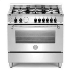 Bertazzoni Master series MAS365GASXT 36in Convection Pro Gas Range 5 sealed brass burners 750-18,000 btus and 4.4 cu. ft. Oven, Main Convection Oven, Manual Clean, Griddle, Storage Drawer and Telescopic Glide Shelf