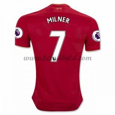 Billige Fodboldtrøjer Liverpool 2016-17 Milner 7 Kortærmet Hjemmebanetrøje