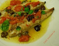 Filetti di sgombri pomodorini capperi e olive